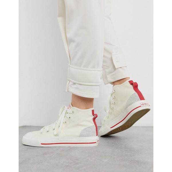 アディダスオリジナルス レディース スニーカー シューズ adidas Originals Nizza Hi-top sneaker in off white White