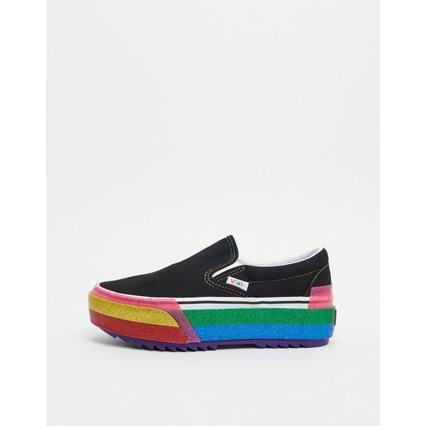 バンズ レディース スニーカー シューズ Vans Slip-On Stacked Rainbow sneaker in multi Glitter black/rainbo