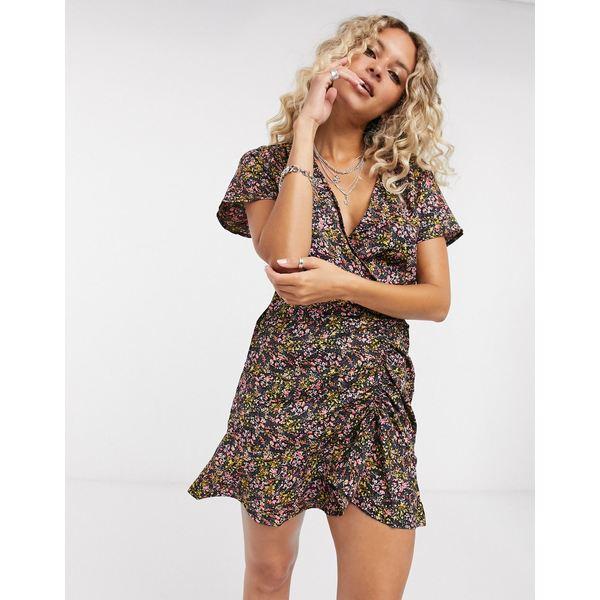 オンリー レディース ワンピース トップス Only mini dress with ruched front in floral print Floral print