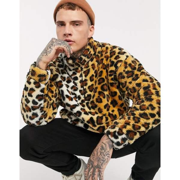 エイソス メンズ ジャケット&ブルゾン アウター ASOS DESIGN teddy fleece track top in leopard print Multi