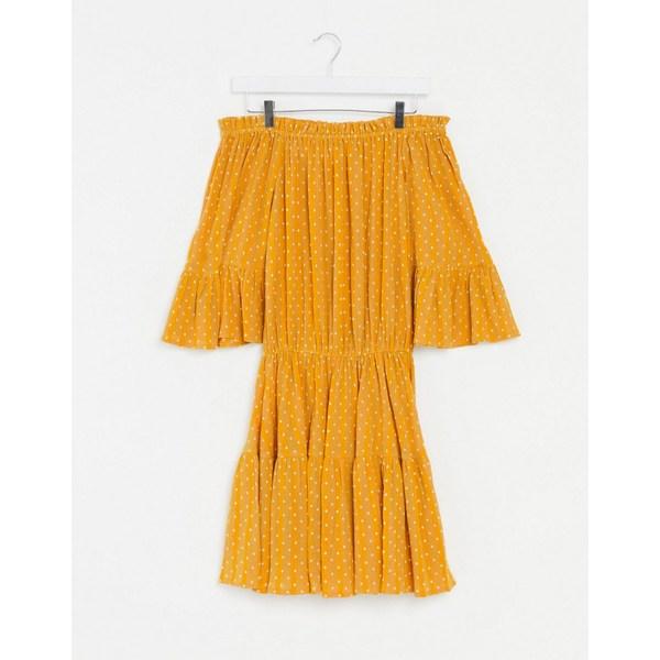 エイソス レディース ワンピース トップス ASOS DESIGN off shoulder tiered mini sundress in mustard polka dot Mustard spot