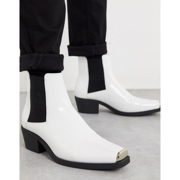 エイソス メンズ ブーツ&レインブーツ シューズ ASOS DESIGN stacked heel western chelsea boots in white patent with metal hardware White