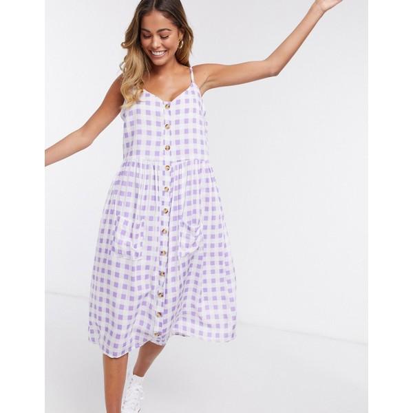 デイジーストリート レディース ワンピース トップス Daisy Street midi cami dress in gingham Lilac white gingham