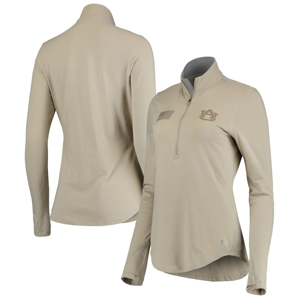 アンダーアーマー レディース ジャケット&ブルゾン アウター Auburn Tigers Under Armour Women's Military Appreciation Tri-Blend Half-Zip Performance Sweatshirt Tan