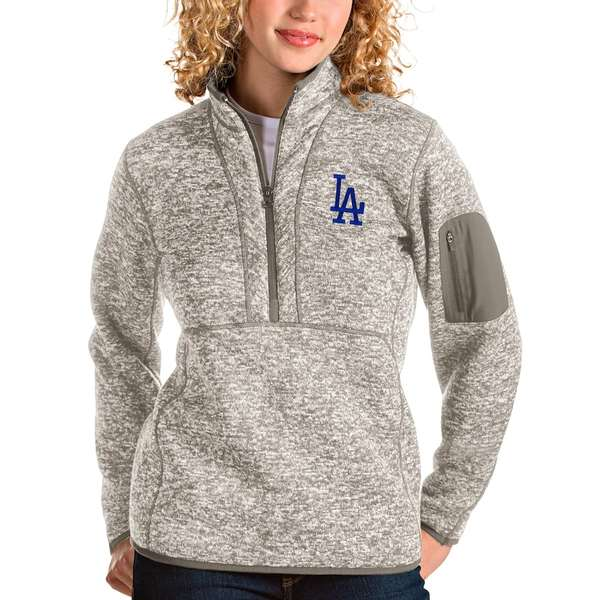 アンティグア レディース シャツ トップス Los Angeles Dodgers Antigua Women's Fortune Quarter-Zip Pullover Jacket Oatmeal