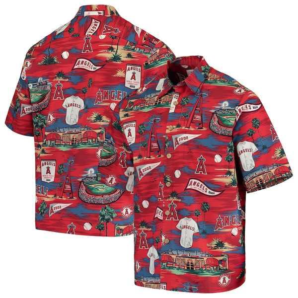 レインスプーナー メンズ シャツ トップス Los Angeles Angels Reyn Spooner Scenic Button-Up Shirt Red