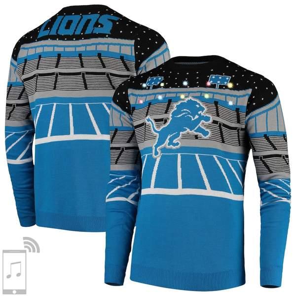 フォコ メンズ シャツ トップス Detroit Lions Bluetooth Light Up Ugly Sweater Blue