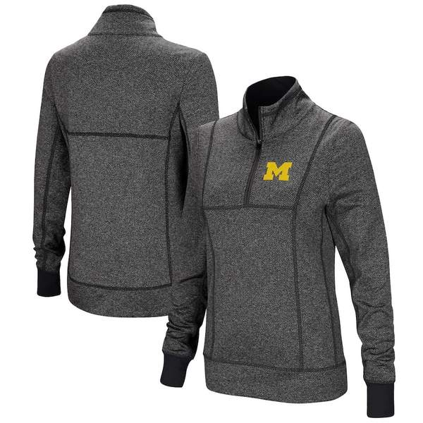 コロシアム レディース ジャケット&ブルゾン アウター Michigan Wolverines Colosseum Women's Herringbone Print Quarter-Zip Pullover Jacket Charcoal