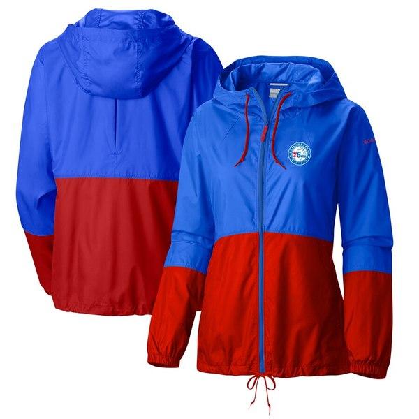 コロンビア レディース ジャケット&ブルゾン アウター Philadelphia 76ers Columbia Women's Flash Forward Full-Zip Windbreaker Jacket Blue