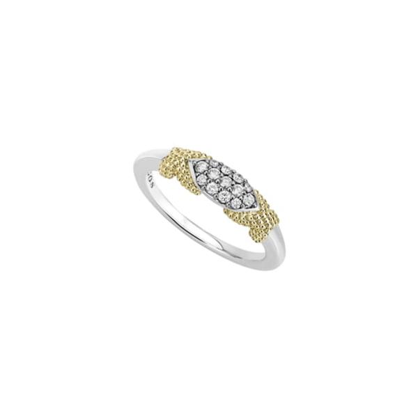 ラゴス レディース リング アクセサリー Caviar Lux Double X Diamond PavRing Two Tone/ Diamond