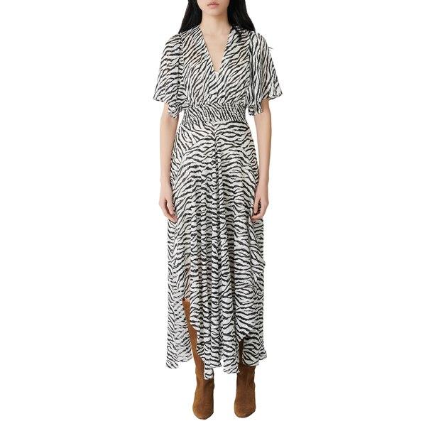 マージュ レディース ワンピース トップス Zebra Print Maxi Dress Black / White