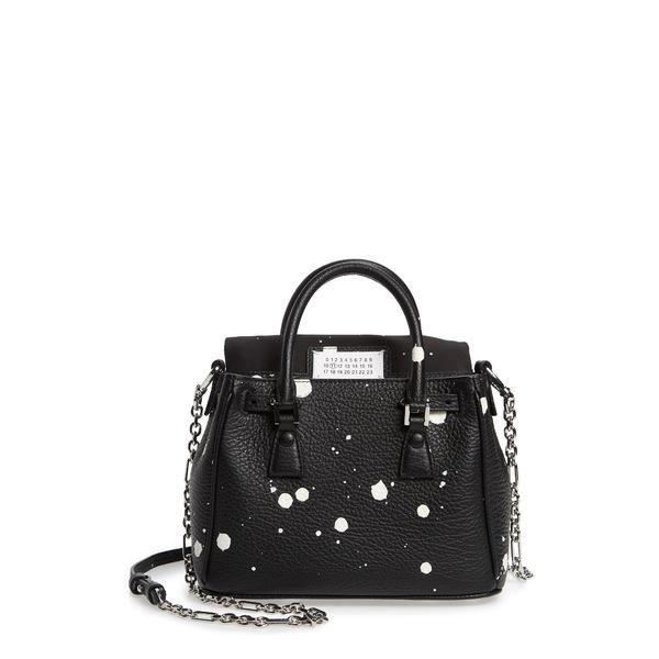 マルタンマルジェラ レディース ショルダーバッグ バッグ Mini 5AC Flap Splatter Leather Shoulder Bag Black/ White Splatter