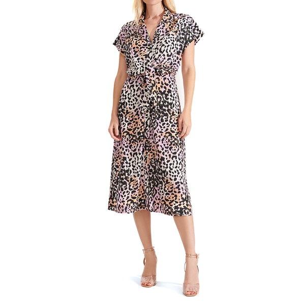 ヴェロニカ ベアード レディース ワンピース トップス Amani Leopard Print Stretch Silk Midi Shirtdress Lilac Multi