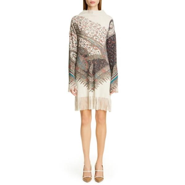 エトロ レディース ワンピース トップス Fringe Trim Long Sleeve Wool & Cashmere Sweater Dress Multi