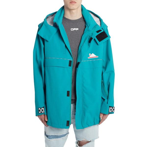 オフホワイト メンズ ジャケット&ブルゾン アウター Technical Hooded Shell Jacket Petrol Blue Silver