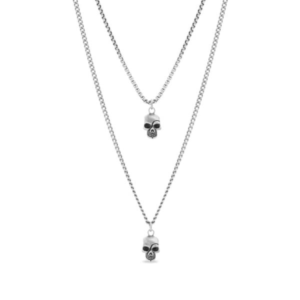 スティーブ マデン メンズ ネックレス・チョーカー アクセサリー Skull Duo Pendant Necklace Metallic Silver