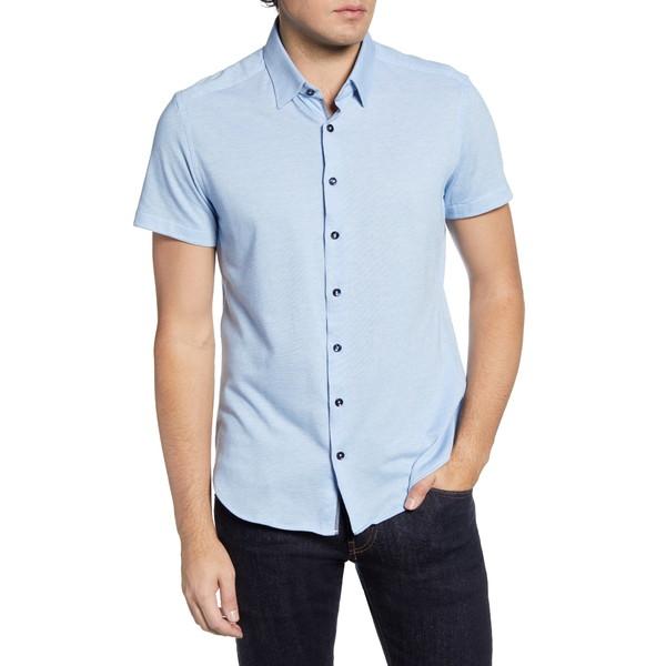 ストーンローズ メンズ シャツ トップス Short Sleeve Button-Up Performance PiquShirt Light Blue