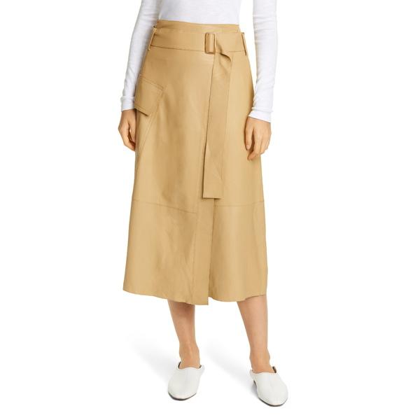 ヴィンス レディース スカート ボトムス Belted Leather Wrap Skirt Straw