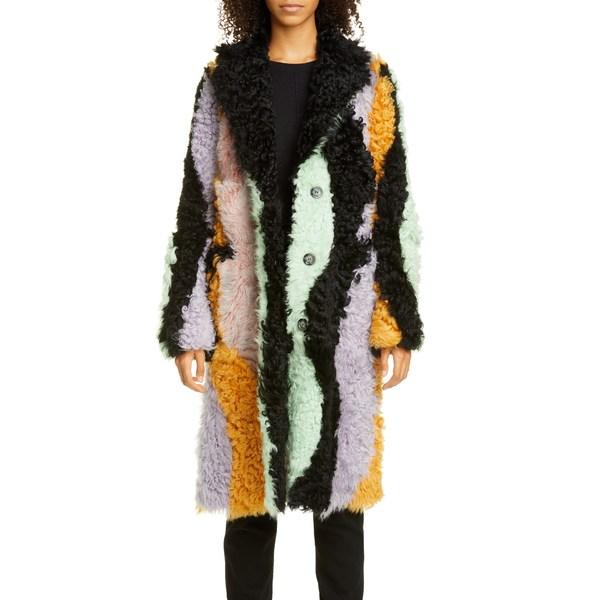 サンディリアング レディース コート アウター Wavy Midnight Patchwork Genuine Shearling Coat Multi