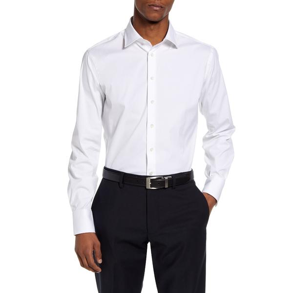 トーマスピンク メンズ シャツ トップス Slim Fit Stretch Poplin Dress Shirt White