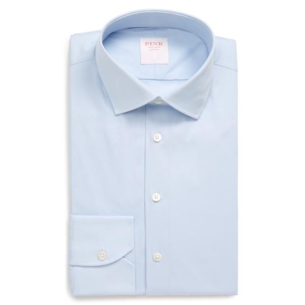 トーマスピンク メンズ シャツ トップス Slim Fit Stretch Poplin Dress Shirt Pale Blue