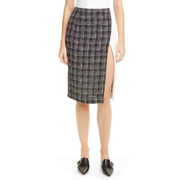オスカー デ ラ レンタ レディース スカート ボトムス Colorblock Tweed Skirt Ivory/ Black