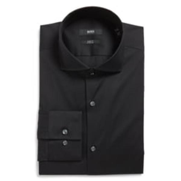 ボス メンズ シャツ トップス Jason Slim Fit Solid Cotton Blend Dress Shirt Black