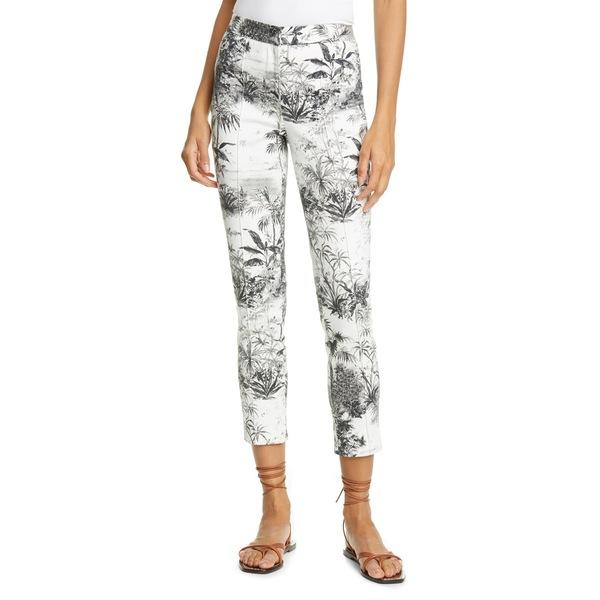 アダム リピズ レディース カジュアルパンツ ボトムス Palm Print Stretch Twill Ankle Cigarette Pants Palm Ivory/ Black