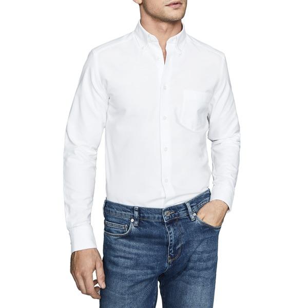 レイス メンズ シャツ トップス Greenwich Slim Fit Button-Down Shirt White
