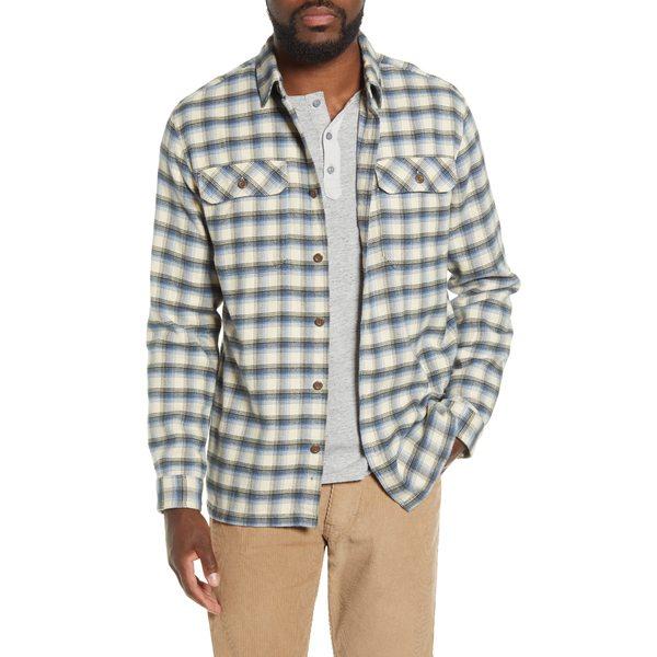 パタゴニア メンズ シャツ トップス Fjord Regular Fit Organic Cotton Flannel Shirt Castroville Oyster White