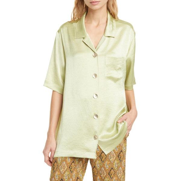 ナヌーシュカ レディース シャツ トップス Ella Oversize Satin Camp Shirt Lime