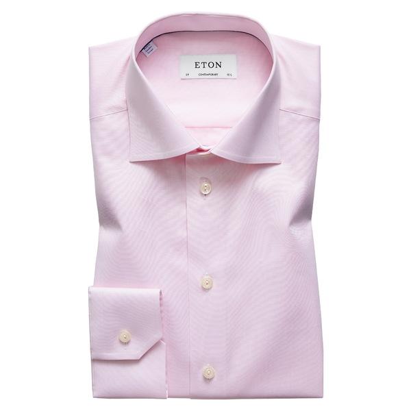 エトン メンズ シャツ トップス Contemporary Fit Solid Dress Shirt Pink