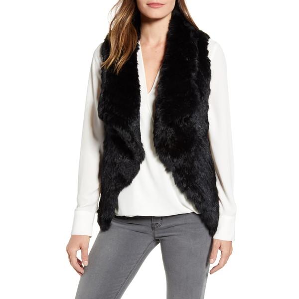 ラフィレンティーナ レディース ジャケット&ブルゾン アウター OmbrGenuine Rabbit Fur Vest Black/ Grey