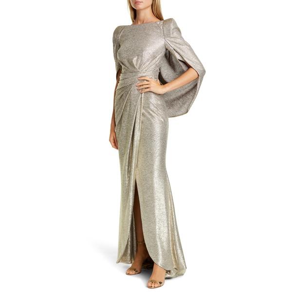 タルボールホフ レディース ワンピース トップス Drape Back Metallic Jersey Gown Brass