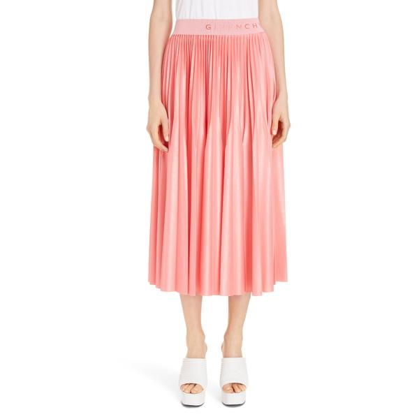 ジバンシー レディース スカート ボトムス Logo Waist Pleated Midi Skirt Flamingo