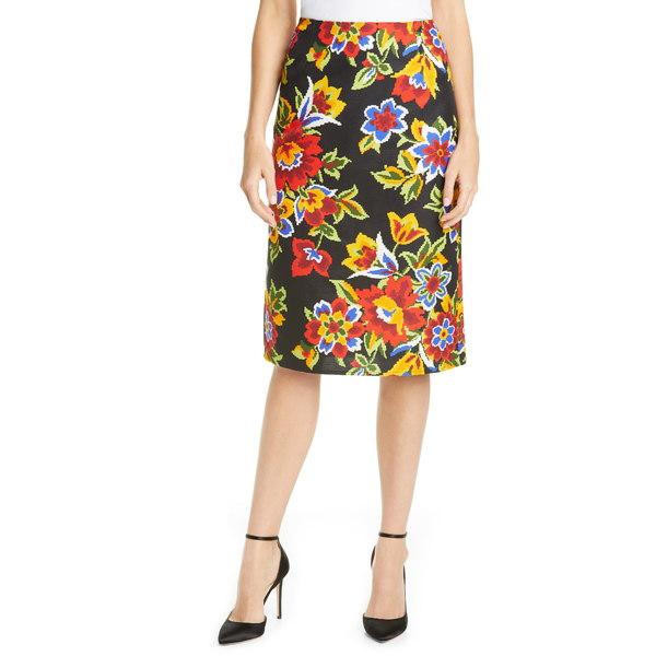 キャロライナヘレラ レディース スカート ボトムス Floral Print Pencil Skirt Black Multi