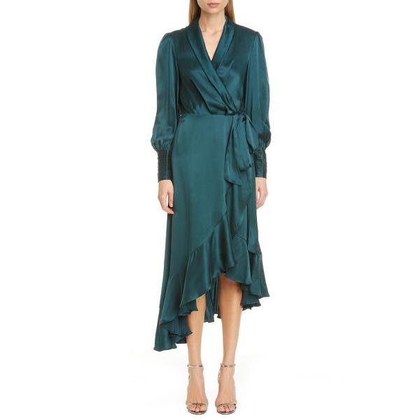 ジマーマン レディース ワンピース トップス Ruffle Trim Long Sleeve Silk Midi Wrap Dress Moss