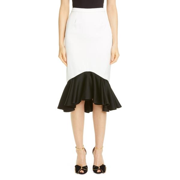 ロダルタ レディース スカート ボトムス Contrast Ruffle Crepe Skirt White/ Black