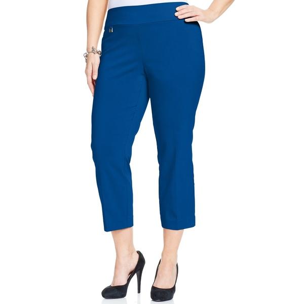 品質検査済 アルファニ レディース カジュアルパンツ ボトムス Plus Size Tummy-Control Capri Pants, Cobalt Sea, マタママチ dce6eb11