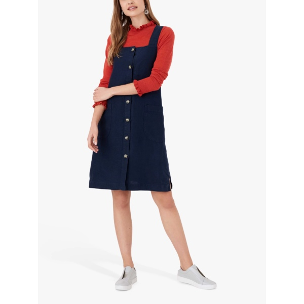 魅了 ブロラ レディース ワンピース トップス Brora Linen Square Neck Dress, Navy -, streamplus 5fba6e3b
