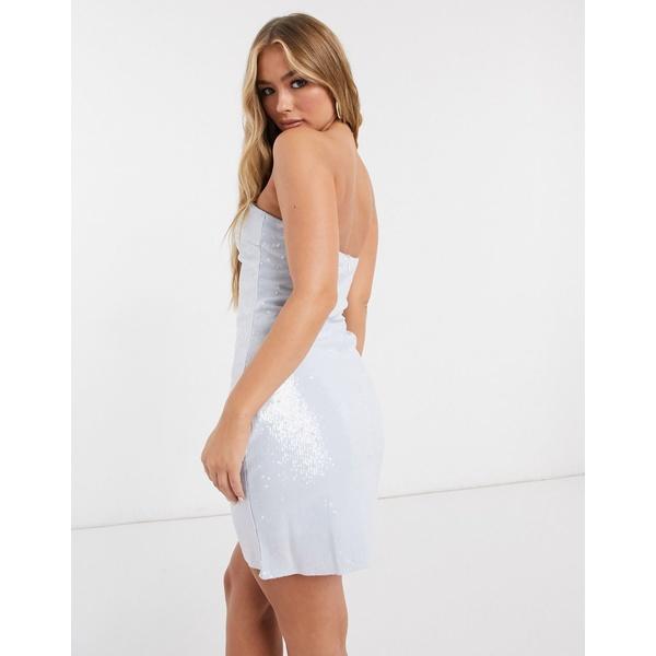 低価格 クラブエルロンドン レディース ワンピース トップス Club L sequin bandeau mini dress in light blue Light blue, 代官山お買い物通り 2599a40f