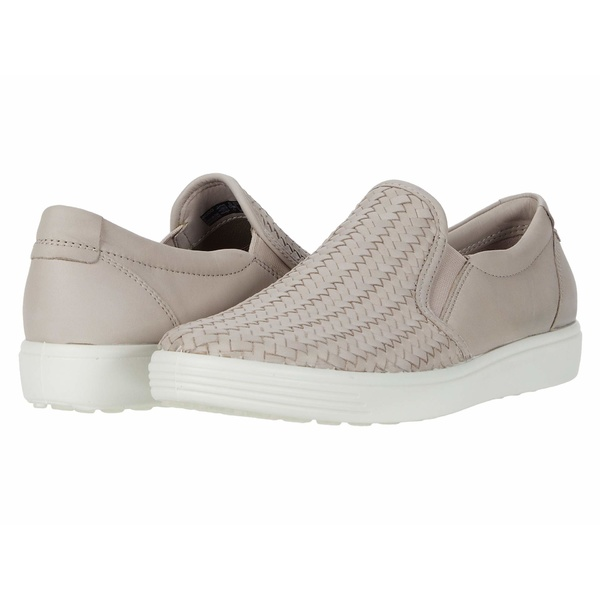 エコー レディース スニーカー シューズ Soft 7 Woven Slip-On II Grey Rose Cow Leather