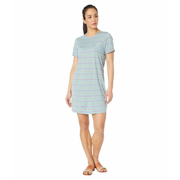 スマートウール レディース ワンピース トップス Merino 150 Short Sleeve Dress Wave Blue Stripe