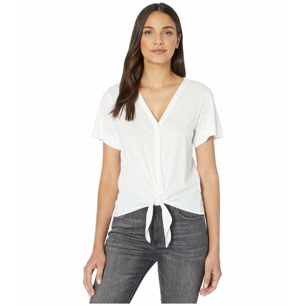 リラピー レディース シャツ トップス Short Sleeve Tie Front Tee in Flame Modal White