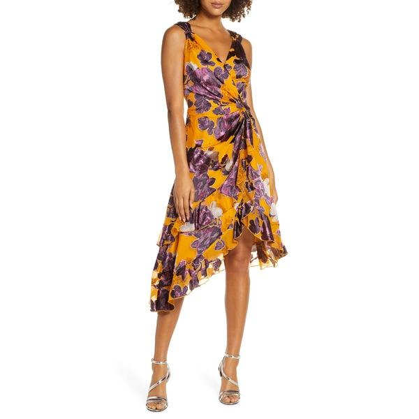 ハーリン レディース ワンピース トップス Harlyn Burnout Asymmetrical Satin Dress Marigold/ Plum