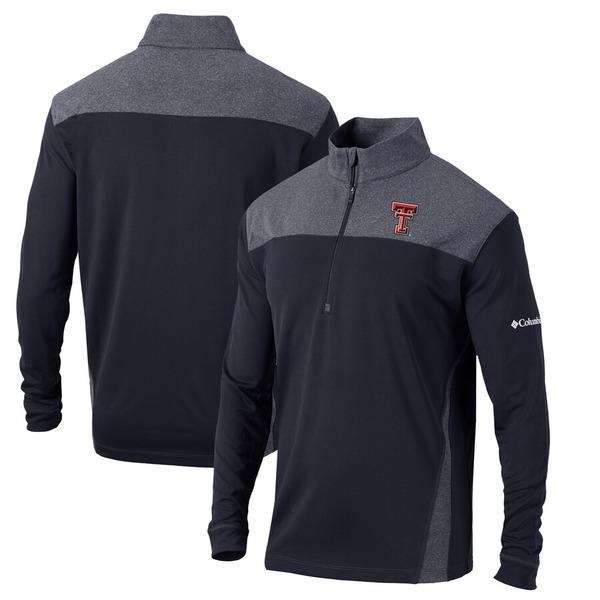 コロンビア メンズ ジャケット&ブルゾン アウター Texas Tech Red Raiders Columbia Omni-Wick Standard Quarter-Zip Pullover Jacket Black