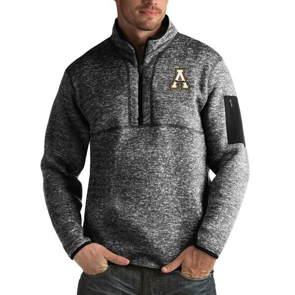 アンティグア メンズ ジャケット&ブルゾン アウター Appalachian State Mountaineers Antigua Fortune Big & Tall Quarter-Zip Pullover Jacket Black
