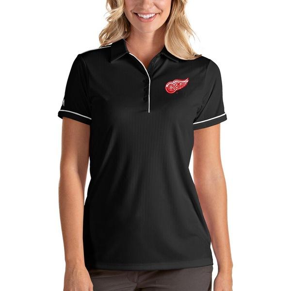 アンティグア レディース ポロシャツ トップス Detroit Red Wings Antigua Women's Salute Polo Black/White