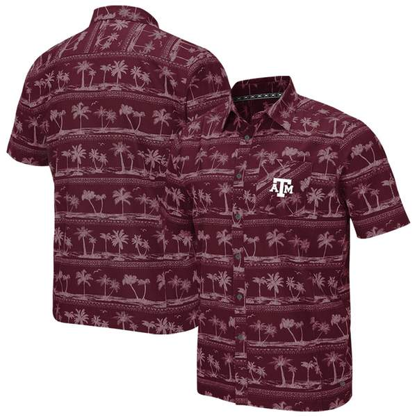 コロシアム メンズ シャツ トップス Texas A&M Aggies Colosseum Big & Tall Hilo Camp Button-Up Shirt Maroon