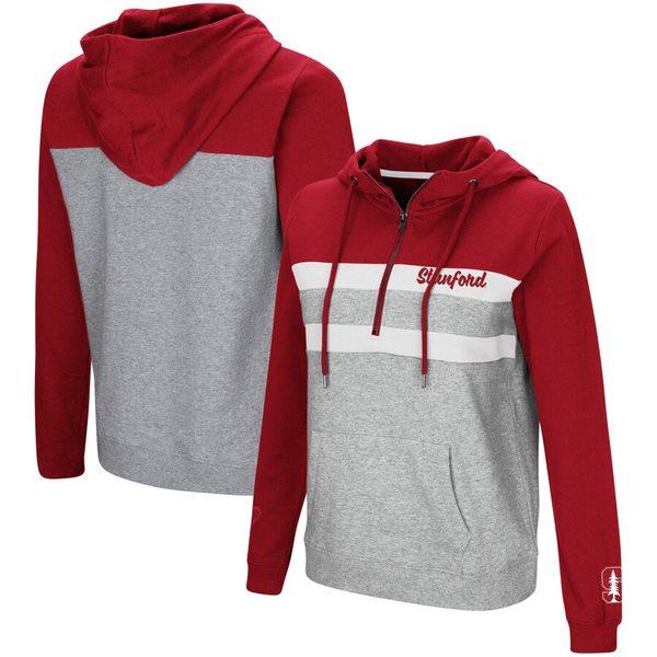 コロシアム レディース ジャケット&ブルゾン アウター Stanford Cardinal Colosseum Women's Play the Game Quarter-Zip Pullover Hoodie Cardinal/Gray